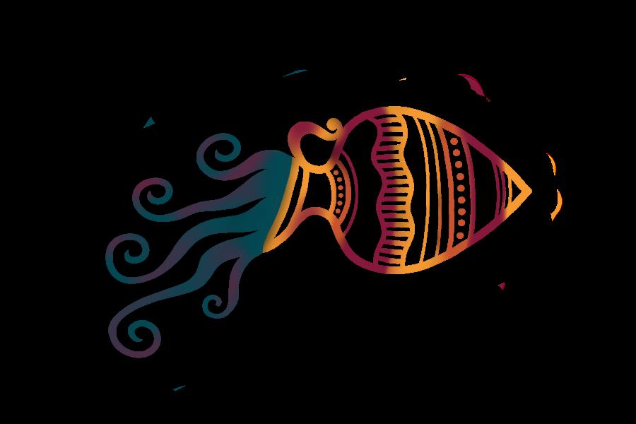 Icona illustrata di un'anfora da cui esco un flusso copioso.
